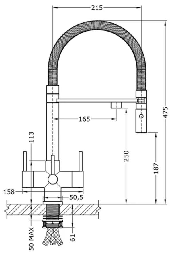 aquila tri flow taps dimensions